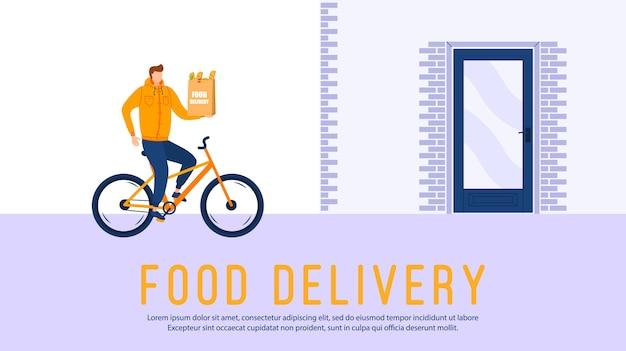 Concetto di servizio a domicilio di consegna online, monitoraggio dell'ordine online. carattere uomo che accelera su una bicicletta per le strade della città con una consegna di cibo caldo dai ristoranti alle case.