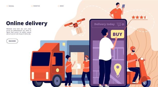 Pagina di destinazione della consegna online. promozione dell'e-commerce, fornitura rapida di servizi.