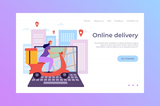 Computer portatile di consegna online, illustrazione di atterraggio. l'e-commerce rende lo shopping veloce e conveniente. acquista merci per posta.