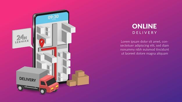 Consegna online su mobile illustrazione per web o app mobile Vettore Premium