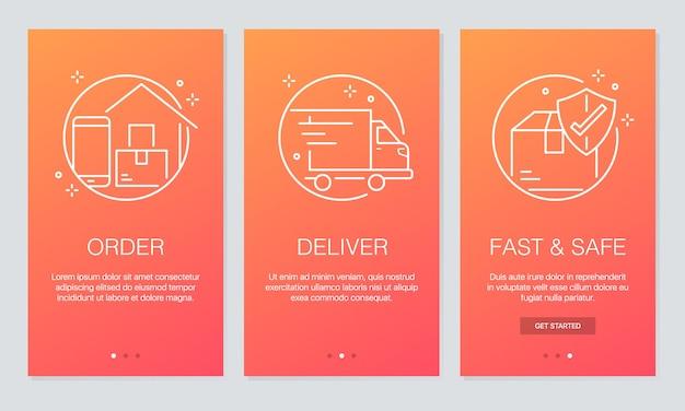 Schermate delle app onboarding di consegna online.