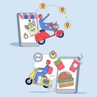 Set di illustrazioni per consegna online, servizio di ordinazione e servizio di consegna