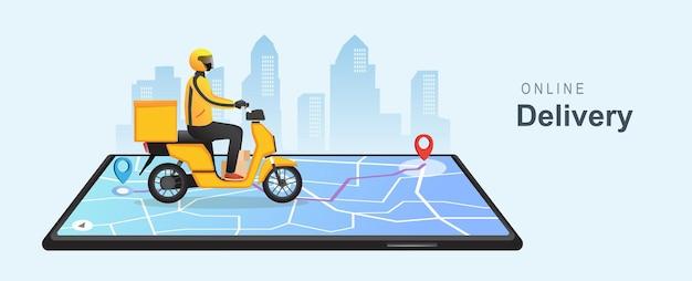 Concetto di telefono di consegna online risposta rapida pacchetto di consegna spedizione su cellulare on