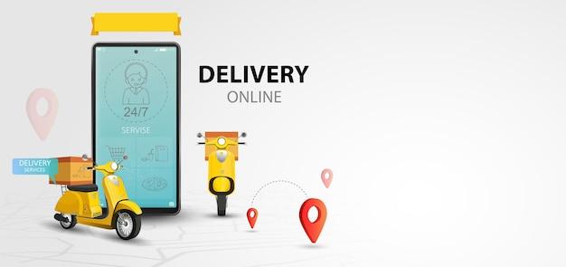 Servizio di consegna online in scooter