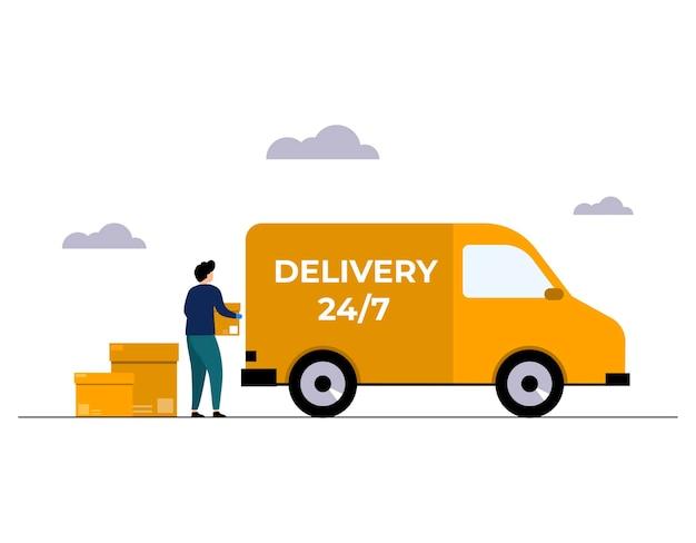 Concetto di servizio di consegna online consegna a casa e in ufficio magazzino camion scooter corriere