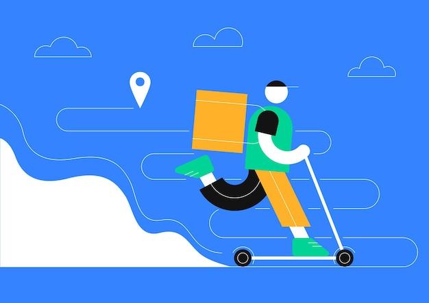 Concetto di servizio di consegna online monitoraggio degli ordini online consegna a domicilio e in ufficio corriere scooter
