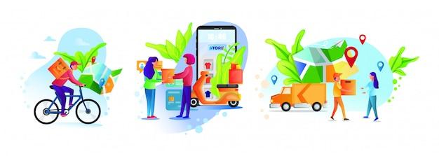 Concetto di servizio di consegna online, monitoraggio degli ordini online, consegna a domicilio e in ufficio. corriere per magazzino, camion, drone, scooter e biciclette, fattorino in maschera respiratoria.