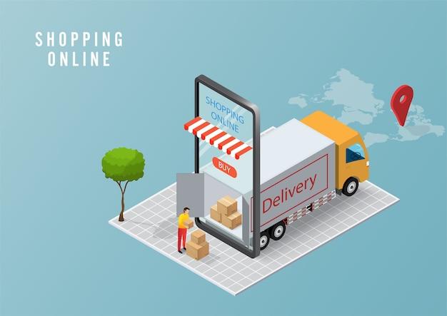 Concetto di servizio di consegna online, monitoraggio degli ordini online, consegna logistica a casa e ufficio su dispositivo mobile.