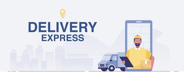 Concetto di servizio di consegna online, monitoraggio degli ordini online, logistica e consegna, sul vettore mobile. illustrazione