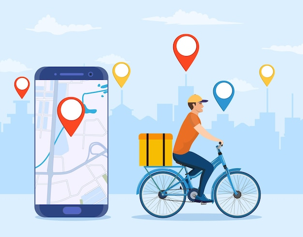 Concetto di servizio di consegna online, monitoraggio degli ordini online