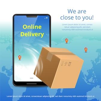 Concetto di servizio di consegna online. telefono realistico e confezione.