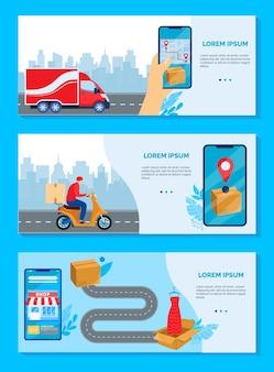 Illustrazione di vettore di concetto di servizio di consegna online. scatole di consegna piatte del fumetto della raccolta di banner di merci con ordinazione a mano umana utilizzando l'app del negozio per smartphone mobile, consegna il set di tracciamento rapido dell'ordine