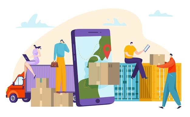 Concetto di servizio di consegna online Vettore Premium