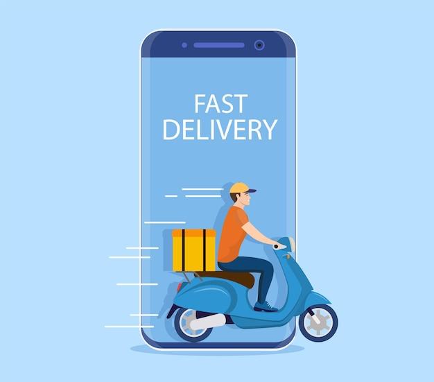 Concetto di servizio di consegna online,