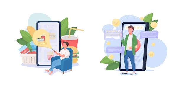 Set di illustrazione di concetto piatto servizio di consegna online app per smartphone ordine di alimentari fast food da asporto personaggi dei cartoni animati del cliente d.