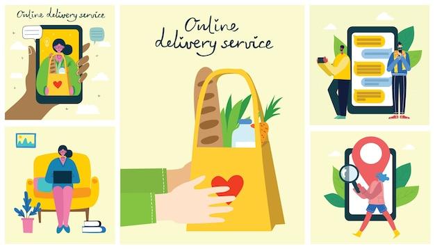 Servizio di consegna online. stile disegnato a mano