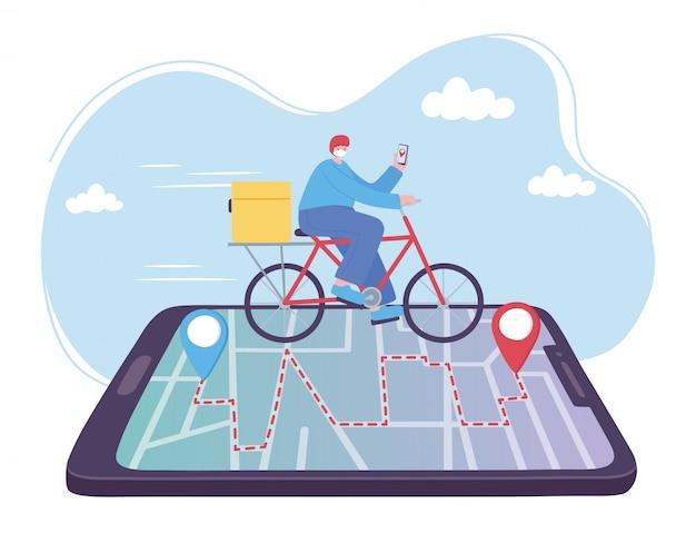 Servizio di consegna online, uomo in bici su smartphone, trasporto veloce e gratuito, spedizione ordini, illustrazione di siti web di app