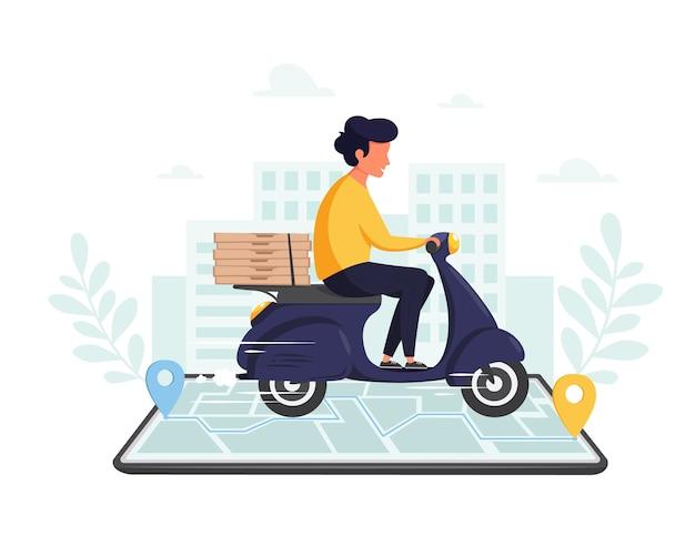 Servizio di consegna online, concetto di acquisto online. consegna veloce in scooter tramite telefono cellulare. in stile piatto.