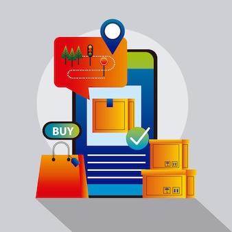 Tecnologia di servizio di consegna online con disegno di illustrazione vettoriale di smartphone e scatole