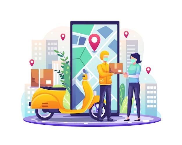 I servizi di consegna online con fattorino e scooter consegnano un pacco all'illustrazione del cliente