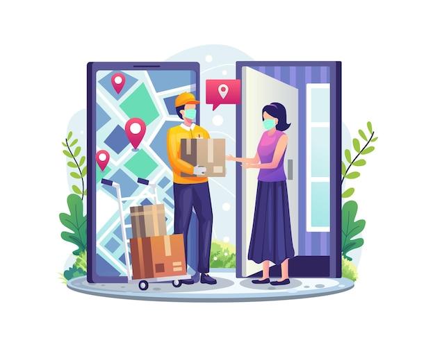 Servizi di consegna online con una donna che riceve il pacco dall'illustrazione del corriere del servizio di consegna