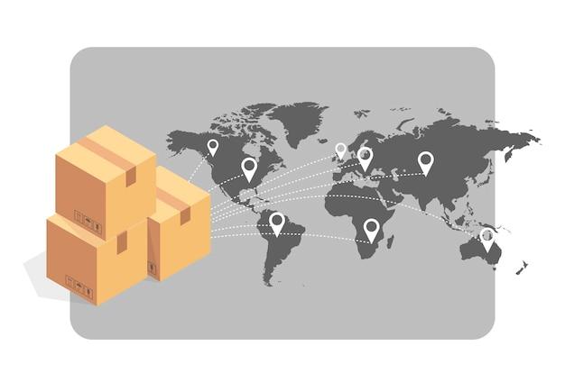 Icona isometrica del concetto di monitoraggio della consegna online. illustrazione vettoriale. tecnologia intelligente della posta. traccia l'applicazione di controllo.
