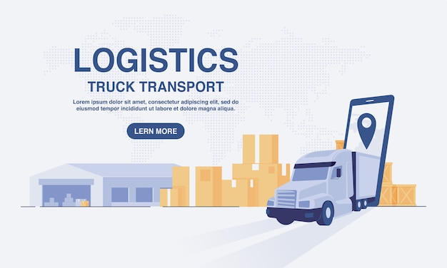 Concetto di servizio di logistica di trasporto di consegna online. magazzino, camion, corriere. illustrazione vettoriale. Vettore Premium