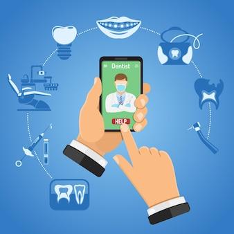 Infografica online di odontoiatria e servizi odontoiatrici con icone piatte sedia da dentista, mani, smartphone, dentista, bretelle, siringa a cartuccia, raggi x e impianto. illustrazione vettoriale isolato
