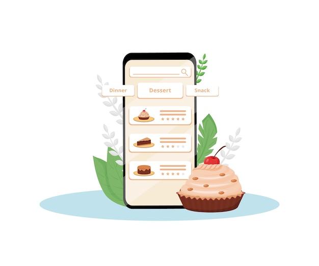 Illustrazione di concetto di design piatto dell'applicazione mobile di valutazione della qualità dei dessert online