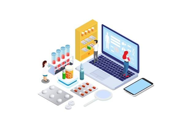 Diagnosi online isometrica con caratteri. Vettore Premium