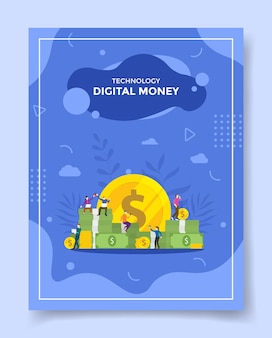Concetto di denaro digitale online per modello di volantino