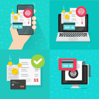 Set di pagamento digitale online con tecnologia touch id e ricevuta della fattura della carta di credito piatta