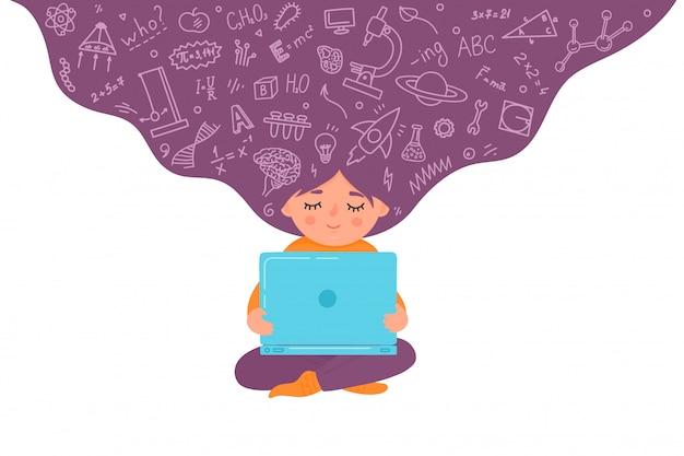 Formazione online a distanza per bambini. ragazza che lavora al computer portatile. concetto di istruzione domestica. capretto con doodle educativo. illustrazione.