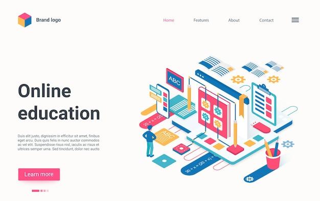 Webinar di apprendimento web isometrico della pagina di destinazione isometrica della tecnologia di formazione a distanza online