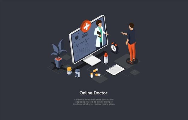 Appuntamento medico online, consultazione su internet, illustrazione concettuale di assistenza medica remota. composizione vettoriale isometrica con personaggi e oggetti, stile cartoon 3d. paziente, medico sullo schermo.
