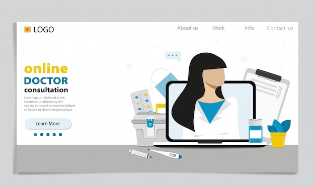 Concetto di medico online. consulenza di esperti tramite il tuo computer.