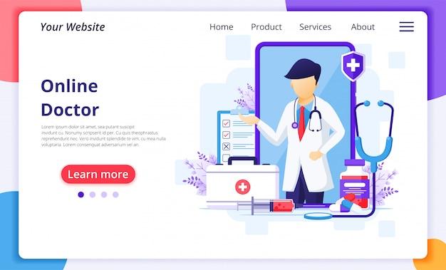 Concetto online di medico, illustrazione medica online di assistenza sanitaria. modello di progettazione della pagina di destinazione del sito web