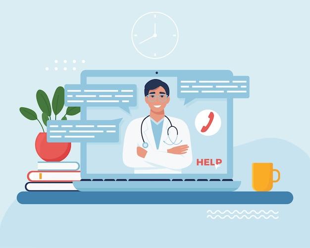 Concetto di consultazione medico online. stare a casa. medico dell'uomo con lo stetoscopio. illustrazione vettoriale in stile piatto