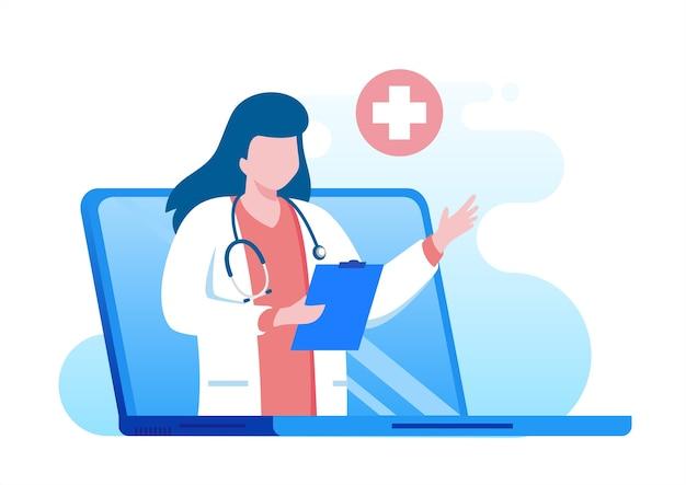 Comunicazione facile medico in linea con gadget e computer