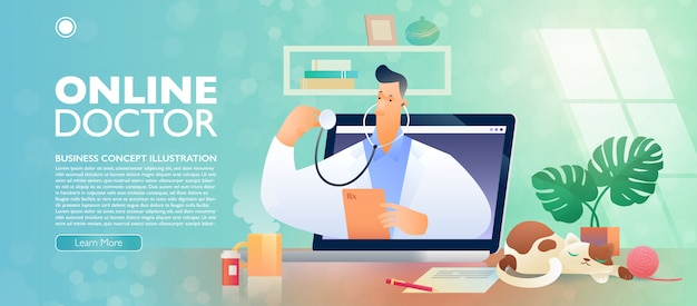 Insegna online di concetto di telehealth e di medico con un personaggio dei cartoni animati di medico che spuntano da un computer portatile.