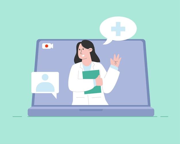 Medico in linea con il computer