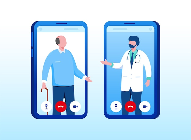 Medico online con modello di sito web della pagina di destinazione di consultazione gadget