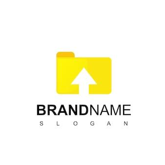 Design del logo del documento online con il simbolo della cartella e della freccia