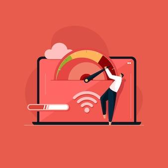 Download e caricamento online del sito web di test della velocità di caricamento del controllo della velocità di internet della velocità di caricamento del sito web
