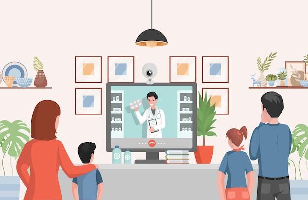 Famiglia piana dell'illustrazione della farmacia in linea che esamina la consulenza dell'esposizione