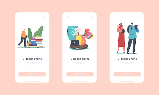 Modello di schermo integrato della pagina dell'app mobile di e-book online. personaggi minuscoli con dispositivi digitali che leggono libri in internet o utilizzano il concetto di applicazione per gadget. cartoon persone illustrazione vettoriale