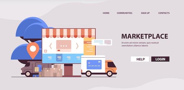 Mercato e-commerce online applicazione e-shop su monitor piattaforma internet per merci all'ingrosso