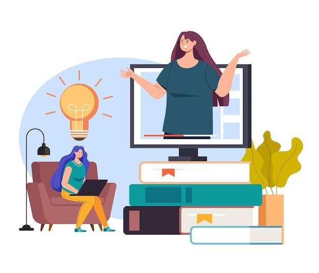 Esercitazione in linea della biblioteca di formazione di internet di e learning
