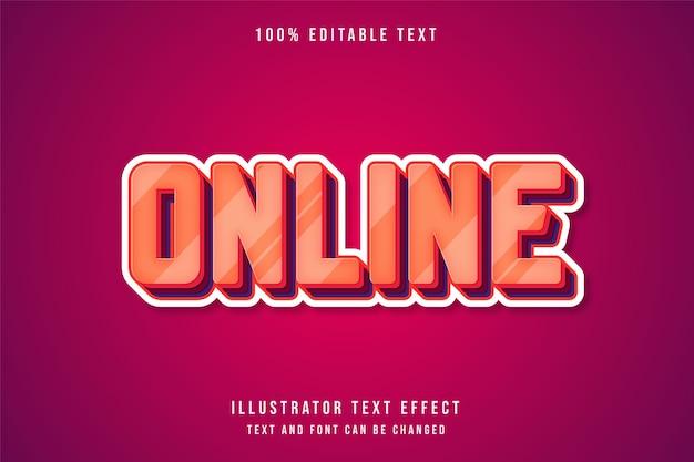 In linea, effetto di testo modificabile crema gradazione arancione rosso viola strati effetto stile
