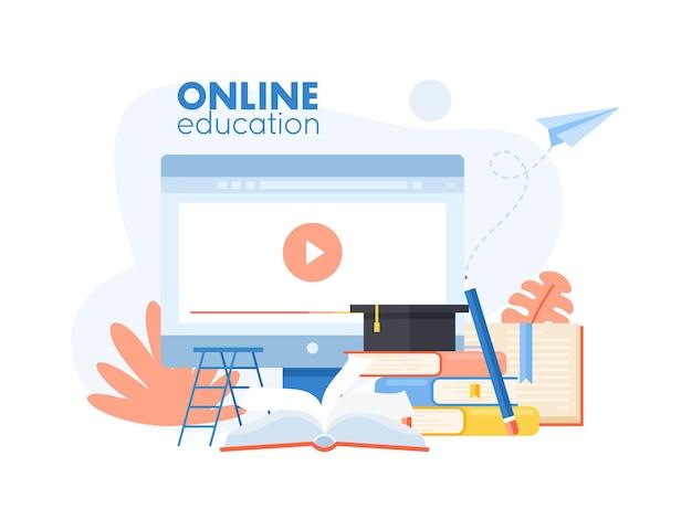 Concetto di app di formazione online con oggetti di studio dei cartoni animati, cappello da laureato, matita, libri educativi